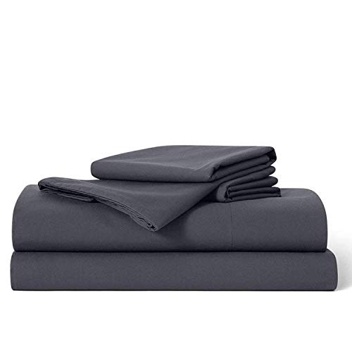 Brooklinen Luxe Core Sheet Set – Includes 1 Flat Sheet, 1 Fitted Sheet + 2 Pillowcases – 480 Thread Count Sateen Sheet Set – 100 Percent Long-Staple Cotton – Oeko-TEX Certified – Graphite – Twin XL