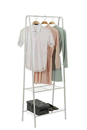 MULSH Metal Clothing Garment Rack Coat Drying Storage Shelving Unit Entryway Storage Organizer with 2-Tier Shelves (White)