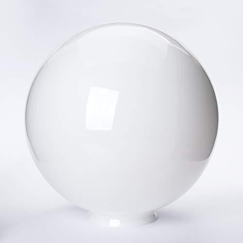 Glaskugel mit Loch viele Größen Lampenglas mit Griffrand Glasschirm Opal weiß glänzend Ersatzglas Schirm Glaskugel Kragenrand Kragen (Ø 300mm)