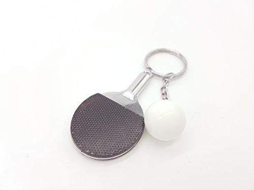 Tischtennis Tischtennisschläger in schwarz und Ball Schlüsselanhänger Ping Pong Metall | Geschenk | Männer | Sport | schwarz