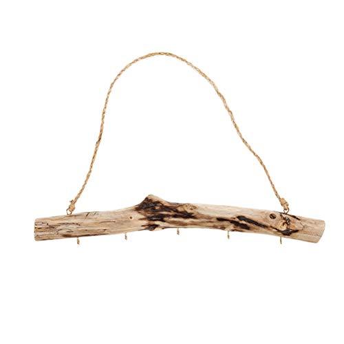 Cabilock Driftwood Armario Decorativo multifunción Montaje en Pared Organizador de Accesorios de joyería Exhibición de joyería de Madera rústica Estante Colgante para Anillos de Collar