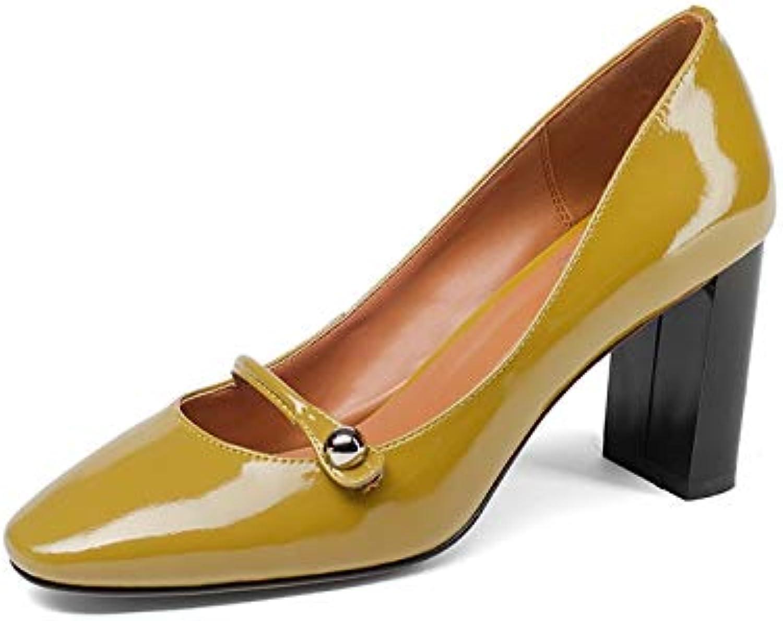 HOESCZS Brand Design Echtes Leder Platz High Heels Slip-on Feste Schuhe Frau Mode Frühjahr Pumpt Groe Gre 33-43,