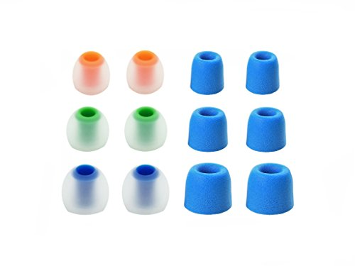 12pcs (NSY-BLMF-sB) S/M/L Premium Memory Foam and Silicone Replacement Adapters Earbuds Eartips Compatible with Fitbit Flyer Wireless Earphones/Headphones