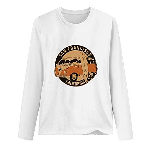 Camiseta de manga larga para mujer, estilo informal, holgada, talla grande, para invierno, otoño, trabajo, al aire libre, hogar, cuello o camiseta, blanco, XL