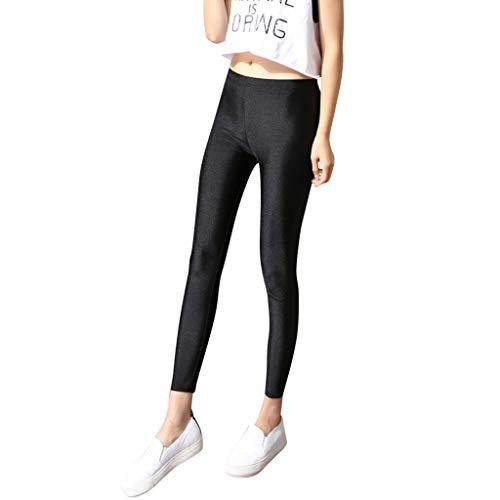 QIMANZI Hosen Damen Große Größe Hose Strecken Schlank Gamaschen Eben Fußhosen Leggings Yoga-Hose Pants(A Schwarz,S)