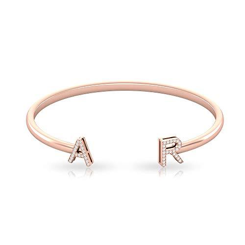 IGI - Pulsera con letra de diamante, certificado por letras, oro, alfabeto inicial, pulsera personalizada para mujer, 18K Oro rosa 6 Inches