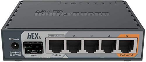 Mikrotik hEX S Ethernet-Router, 10, 100,1000 MBit/s, 10/100/1000Base-T(X), Schwarz, 256 MB, 11 W, DC