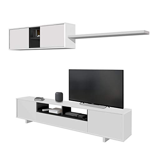 Habitdesign 0Z6682BO - Mueble de salón Moderno, modulos Comedor Belus, Medidas: 200 cm (Largo) x 41 cm (Fondo) (Blanco Brillo - Gris Antracita)