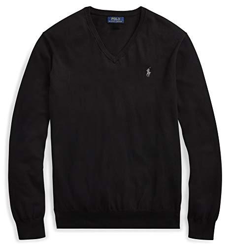 Ralph Lauren - Maglione da uomo in lana merino con scollo a V Nero XL