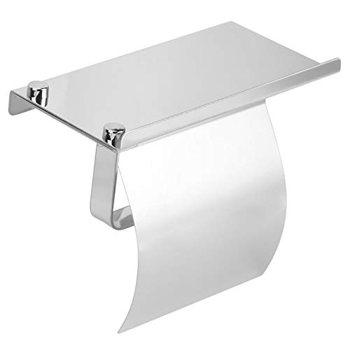 Soporte para toallas de papel, baño de acero inoxidable montado en la pared, rollo de papel higiénico, soporte para almacenamiento de tejidos con estante para teléfono