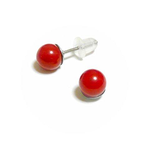 【 シンプル スタイル 】 赤珊瑚 (6mm 丸珠) チタン スタッド ピアス