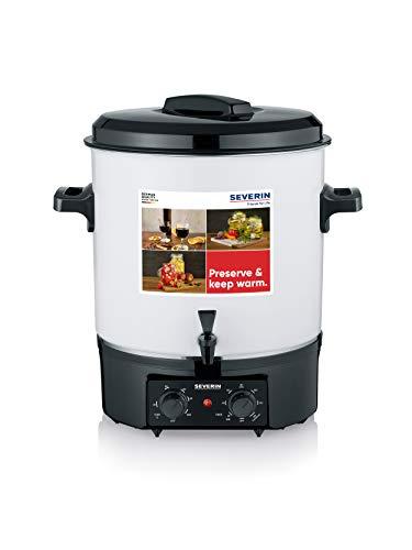 SEVERIN Machine de conservation avec régulateur de température en continu et fonction minuterie, cuiseur à vin chaud avec robinet pour jusqu'à 14 bocaux de 1 litre, blanc/noir, EA 3655