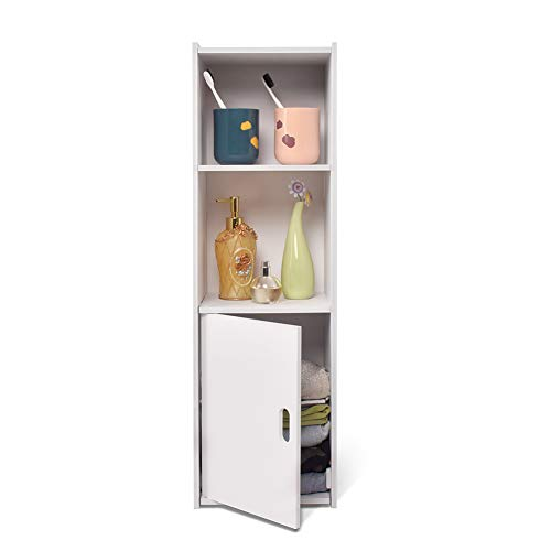 aimu Waterproof Bathroom Cabinets, Floor Free-Standing Storage Cabinet, Corner Organizer Cupboard for Bathroom Bedroom Kitchen Hallway,White.