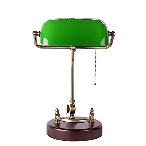 Waqihreu Bankers Lámpara de Escritorio, Oficina Retro Iluminación clásica Dormitorio Lámpara de Lectura Junto a la Cama Pantalla de Vidrio Verde Base de Madera Lámpara de Mesa Ajustable de Metal E27