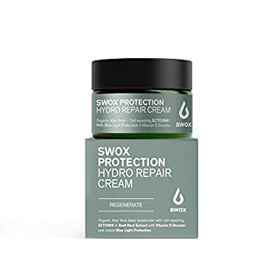 SWOX Organic Aloe Vera Cream with Hyaluronic Acid and Cell-repairing Molecule ECTOIN® - Dermatest EXCELLENT - Daily Moisturizer for the Face (1 x 50 ml) from Swox