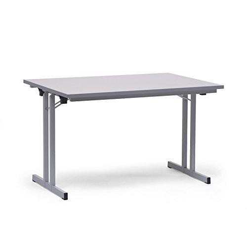 Certeo Klapptisch | HxBxT - 720 x 1400 x 800 mm | Extra starke rechteckige Platte | Gestell und Platte in lichtgrau | Klapptisch Mehrzwecktisch...