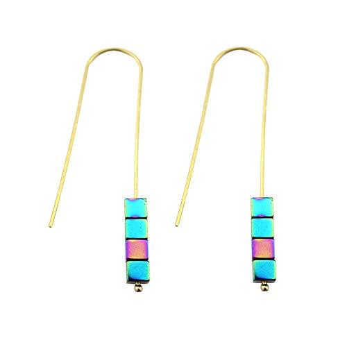JFHGNJ Frauen geometrische Würfel Motiv Haken Ohrringe grüner Pfeil Hämatit Ohrringe Vintage Goldlegierung-E2806 Mehrfarbig