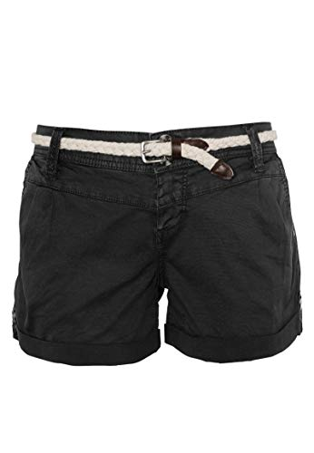 Eight2Nine Damen Chino Shorts Hose mit Flecht-Gürtel Dark-Grey S