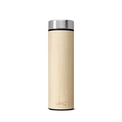 Botas de aislado al vacío botella de agua de bambú, doble pared de acero inoxidable, boca ancha, libre de BPA, Negro