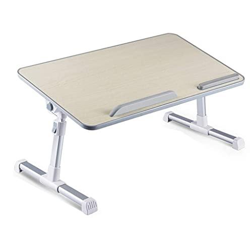 HFTD Bed Desk Folding Verstellbarer Hubtisch Bed Laptop Desk Tragbarer Laptop-Schreibtisch mit faltbaren Beinen Höhenverstellbarer Faltbarer Laptop (Farbe: Holzfarbe, Größe: 52 * 30 * 24 cm)