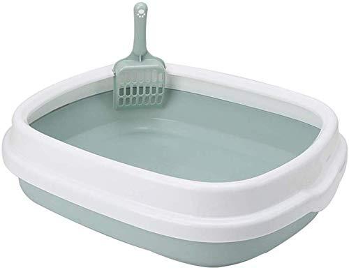 KLMNV;KLBVB Zacht groot kattentoilet van veiligheidsblik, Trash Semi-Chips, hygiënische Easy Clean dieren, ophangtafel met toiletbril Shovel (kleur: grijs, maat: S 40 × 33,5 × 12 cm), M 48×40×14cm, Groen