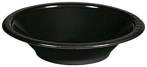 Creative Converting Touch of Color Plastic Bowls Party Supplies, 12oz, Black