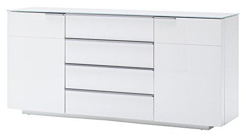 Robas Lund, Sideboard, Kommode, Canberra, Hochglanz/weiß,  87 x 57 x 21 cm, 48774W54