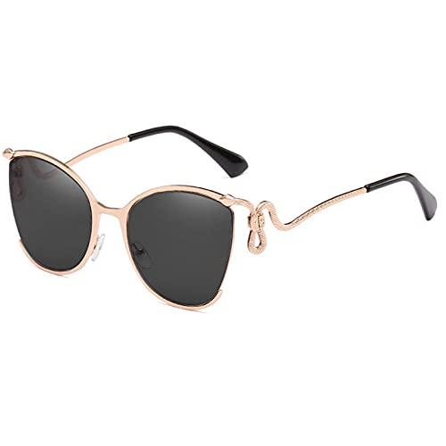 HPPSLT Al Aire Libre Rosa Espejo Gafas de Sol Mujeres diseño Retro serpeno Marco de Metal Gafas de Sol para Mujer Tonos-Plata De Moda (Color : Black)