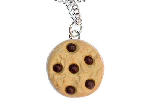Miniblings Cookie Keks Chocolate Chips Halskette - Handmade Modeschmuck I Kette mit Anhänger Länge: 45cm - Krümel Kekse Schokolade