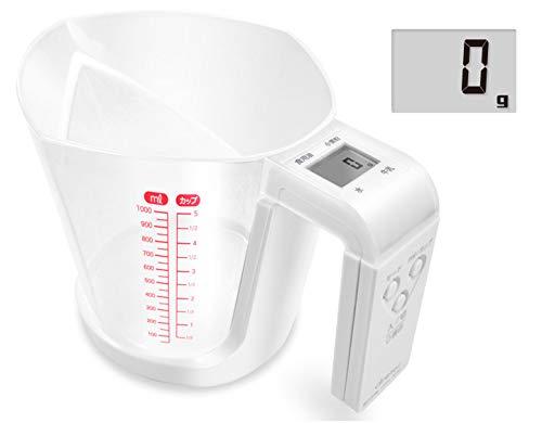 ドリテック(dretec) デジタル計量カップ キッチンスケール 計量器 デジタル 最大計量1kg 1g単位 CS-100WTDI ホワイト