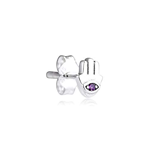 Pandora 925 Jewelry Bracelet Natural My Hamsa Hand Single Stud Earrings Pendientes Kolczyki Aretes De Mujer Earing For Sterling Silver Women Diy Gift