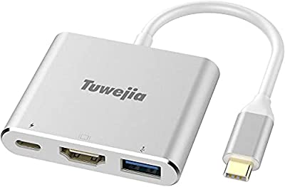 USB C to HDMI Multiport Adapter Tuwejia USB 3.1 Gen 1 Thumderbolt 3 to HDMI 4K Video Converter /USB 3.0 hub Port PD Quick Charging Port with Large Projection