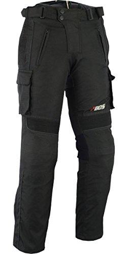 BOS Sportliche Motorrad Hose Motorradhose Schwarz mit Oberschenkeltaschen (XL, Schwarz 6066)