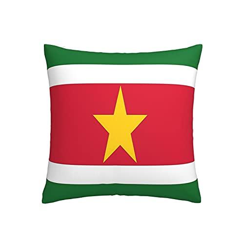 Kissenbezug, Motiv: Flagge von Suriname, quadratisch, dekorativer Kissenbezug für Sofa, Couch, Zuhause, Schlafzimmer, für drinnen & draußen, 45,7 x 45,7 cm