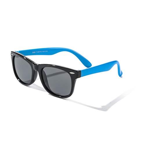 Rocf Rossini Gafas de Sol Polarizados para Edades de 2-8 Niños y Niñas Gafas de Sol Aviador Tonos de Protección UV (Negro/Azul)