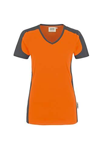 Hakro Women V Shirt Contrast Performance- Gr. XL, Orange