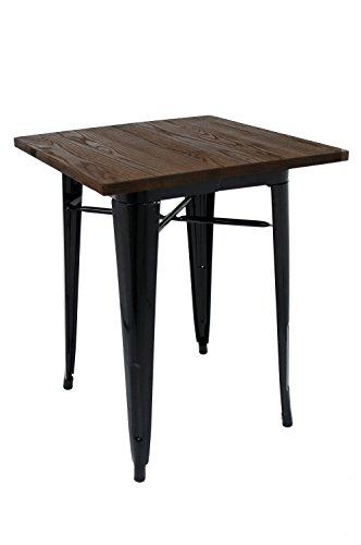La Silla Española - Mesa baja tipo Tolix fabricada en acero lacado en color negro y base en madera oscura. Medidas 75x60x60