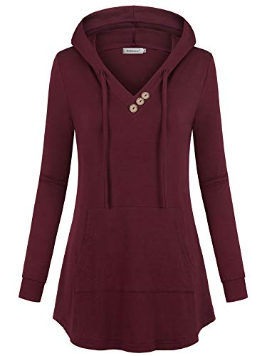 Helloacc Flowy Hoodies for Women,V Neck Long Sleeve Flared Shirt Easy Loose Fit Fall to Wear with Leggings Casual Tunic Top Jerseys Sweater Henley V Neck with Button Decor Hand Pockets Hoodie Wine L