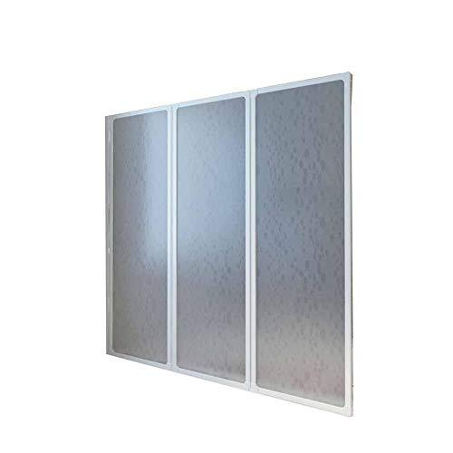 AYNEFY - Mampara de ducha plegable para bañera, 141 x 132 cm