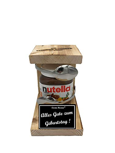Alles Gute zum Geburtstag - Eiserne Reserve ® Löffel mit Nutella 450g Glas - Das ausgefallene originelle lustige Geschenk - Die Nutella - Geschenkidee