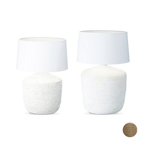 Relaxdays Lampe de table herbe de mer lampe de chevet bureau abat-jour blanc en coton design maritime rustique HxlxP: 62 x 45,5 x 45,5 cm taille petite Shabby Chic liseuse lampe de lecture, blanc