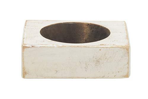 Luxury Living 1-Hole Wooden Cheese Mold Candle Holder in White Distressed