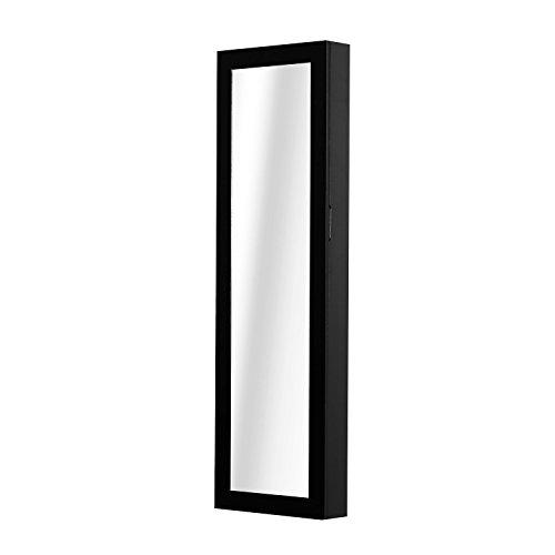 Homcom sieradenkast met spiegel van MDF, zwart, 37 x 9,5 x 121 cm