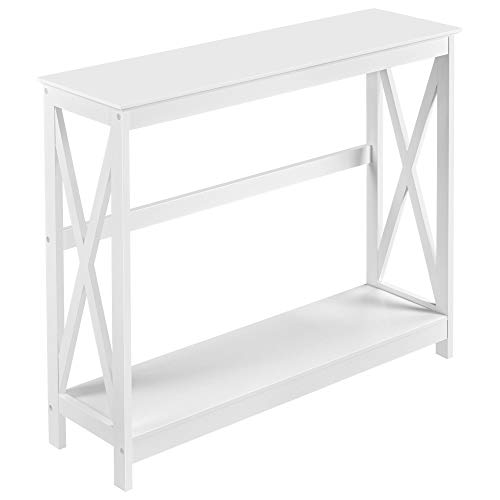 Yaheetech X-Shaped Console Table 2 Tiers Sofa Table End Table Contemporary Hallway Storage Shelf Wooden Dressing Dresser Desk Furniture for Living Room Bedroom, White(101.5 x 30 x 81 cm)
