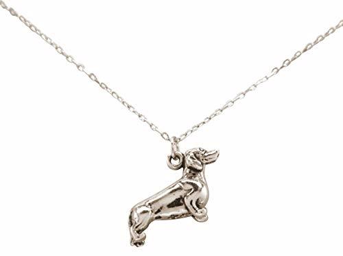 Gemshine Dackel Hund Dachshund 3-D Anhänger. 925 Silber, vergoldet oder rose mit Kette. Haustier, Herrchen, Frauchen - Nachhaltiger, ethischer Schmuck Made in Spain, Metall Farbe:Silber