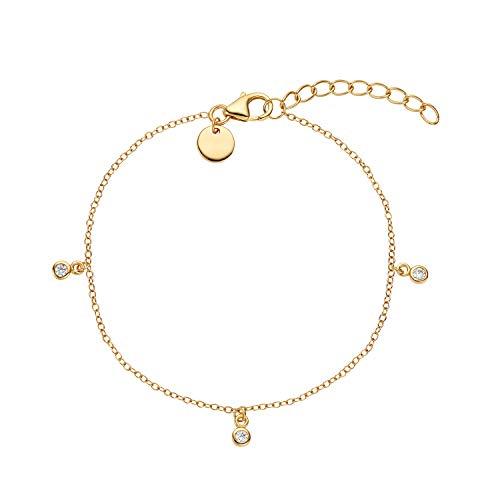 NOELANI Armband für Damen, Sterling Silber 925, Zirkonia Coin