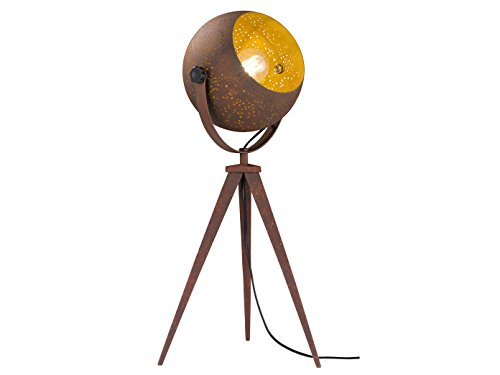 Retro tafellamp AVILA met LED-lampen, antiek bruin goud, decoratieve stansing, draaibare reflector, E27-vat, Wofi