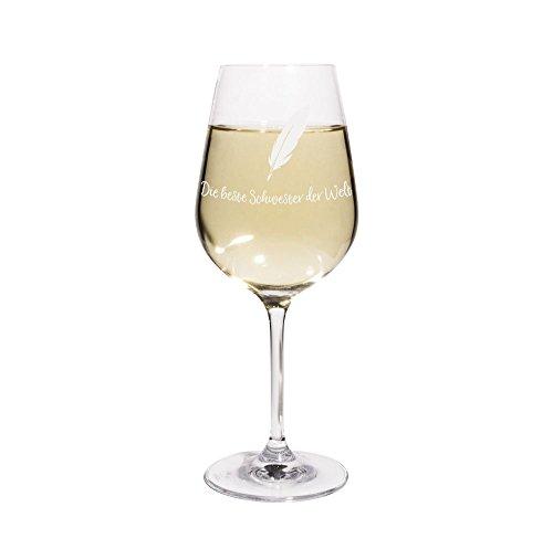 printplanet® Weißweinglas mit Namen Die Beste Schwester der Welt graviert - Leonardo® Weinglas mit Gravur - Design Feder