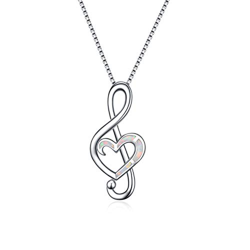 WINNICACA Music Note Necklace Sterling Silver Created White Fire Opal Dance Lover Pendant Necklaces for Women Girls Gifts Jewellery