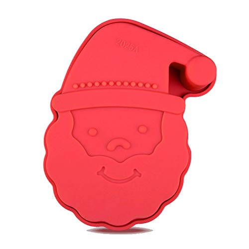 Santa Claus Face 3D Silicone Baking Cake Jelly Mould - Christmas Xmas Sponge Cooking Shaping Chocolate Fondant Moulding Shaping Bake Tool - Non Stick - Easy Clean - Dishwasher Safe - 10 x 7 x 3.5cm